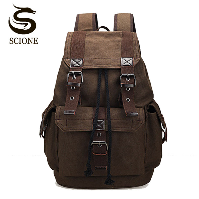 Scione Unisex Canvas Backpack School Rucksack Men ...