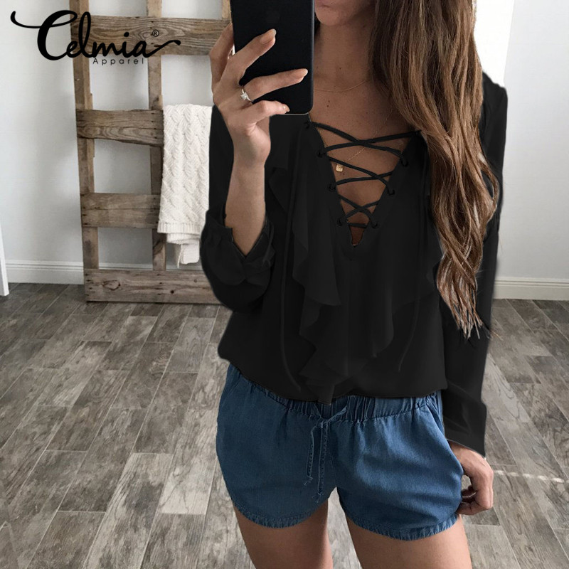 2018 Fashion Spring Summer Women Chiffon Blouse Sexy Lace Up V Neck Ruffles Long Sleeve Black White Tops Casual Plus Size Shirts 1