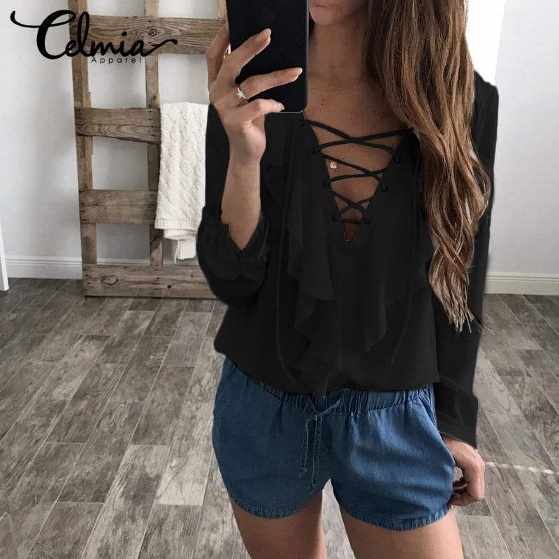 Celmia Womens Summer Blouse 2018 Chiffon Blouse Sexy Top Lace Up V Neck Ruffle Long Sleeve Shirt Casual Plus Size Blusa Feminina 1