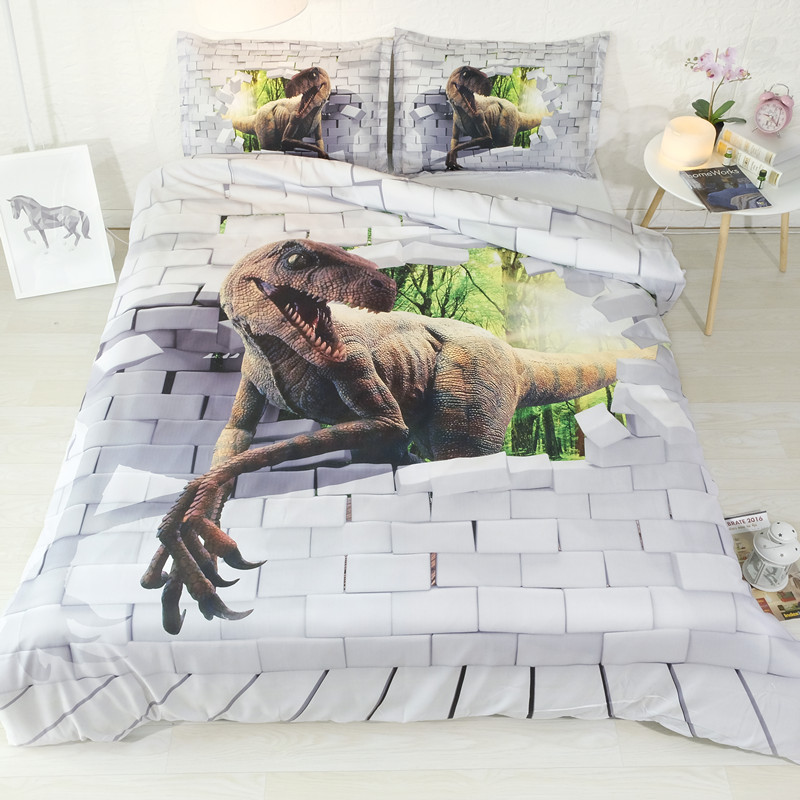 Fanaijia 3d Dinosaur  Bedding Sets King Size Cool Duvet Cover Set With Pillowcase Queen Single Bedline Boy Bed Set