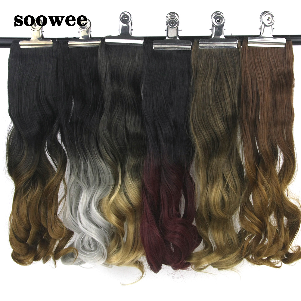 Soowee 60cm Synthetic Hair Straight Black Blonde Burgundy 5 Clip In Hair Extensions Hairpiece Hair On Hairpins For Women High Quality And Low Overhead Synthetic Clip-in One Piece