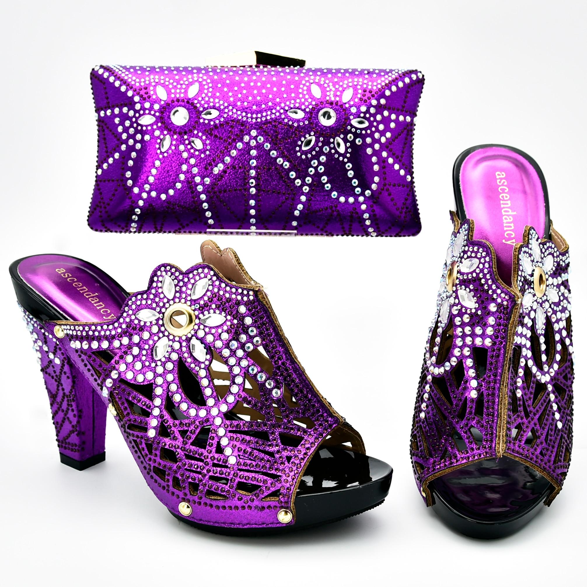 Bleu Royal chaussures italiennes et sac match set 4.3 pouces pantoufles chaussures embrayages sac en couleur pourpre chaussures et sac ensemble SB8393-2