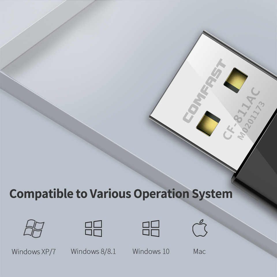 Comfast mini placa de rede banda dupla 2.4g & 5.8g alta potência 650 mbps 802.11ac antena para computador portátil desktop janela xp/7/8/10 CF-811AC