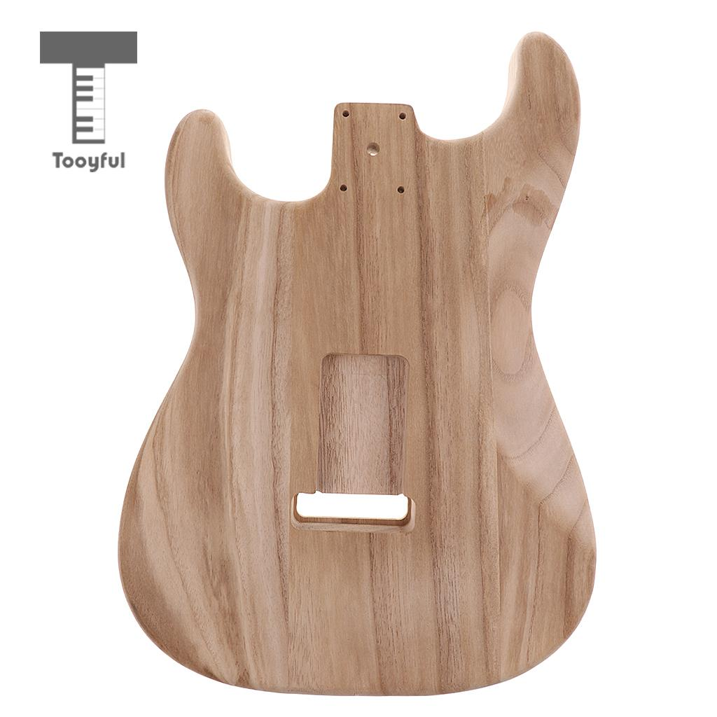 Tooyful Solid Wood Electric Guitar Replacement Unfinished Body Barrel Material for Strat ST Guitar DIY Parts free shipping 4ply 11 screw holes sss cream pearl fd strat st style electric guitar pickguard diy replacement light cream pearl