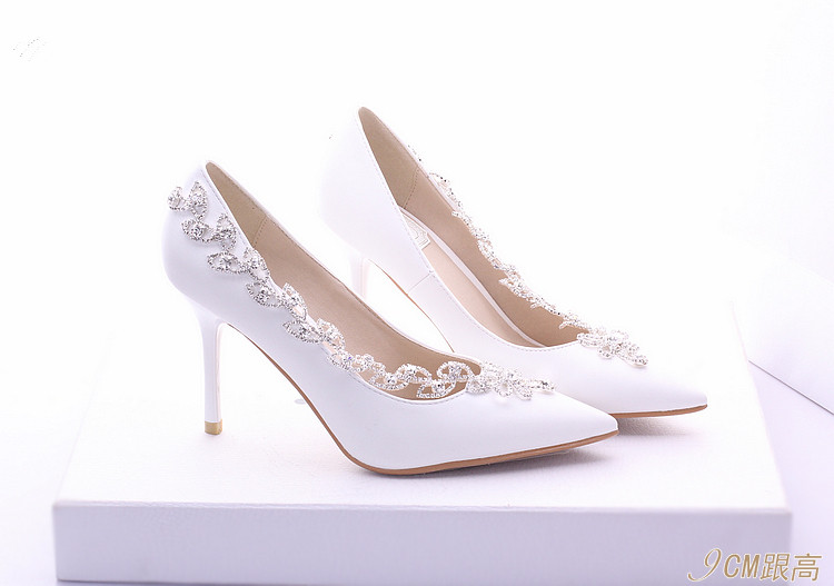 ФОТО White Bridal Shoes Wedding Shoes ultra High Heels dress Shoes thin heels shallow mouth 8CM  Pumps large size 40-47