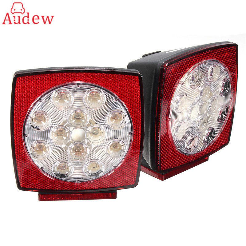 2Pcs 37LED Truck Trailer Square Brake/Tail/License Plate Lights Side Lamp Mount Light plate light motorcycle tail tidy fender eliminator registration license plate holder bracket led light for ducati panigale 899 free shipping