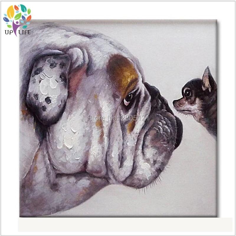 Håndmalet køligt hundeportræt Billede lærred Oljemaleri - Indretning af hjemmet - Foto 3