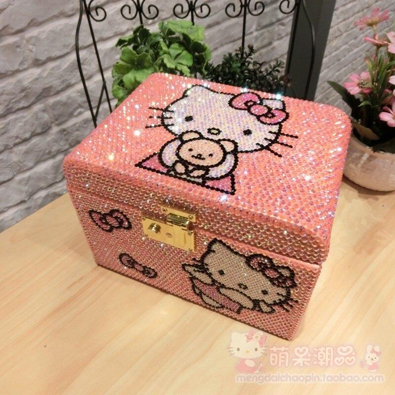 Boîte à bijoux de boîte en bois de strass de Hello Kitty complètement faite à la main avec l'organisateur de tiroir de conteneurs de stockage de perle multicouche de serrure