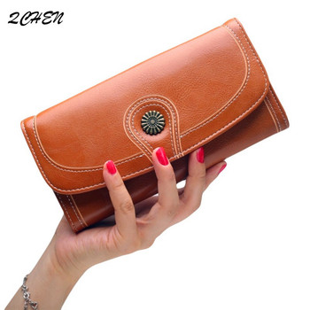 цена на Vintage Phone Purses Women Wallets Female Purse Leather Brand Retro Ladies Woman Wallet Card Clutch hand holding wallet 218
