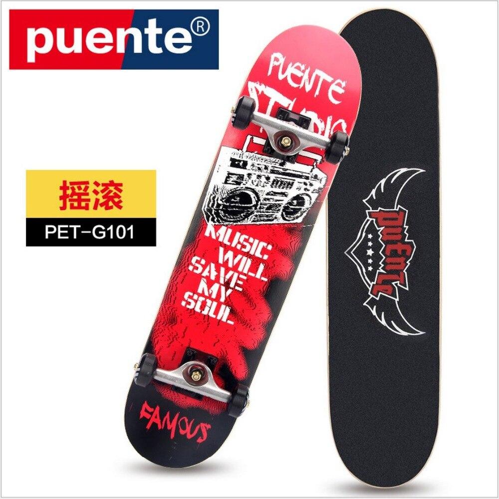 Envío gratuito calidad grado especial de arce canadiense SkateBoard 79mm x 20mm Graffiti LongBoard de doble balancín Monopatin street skate