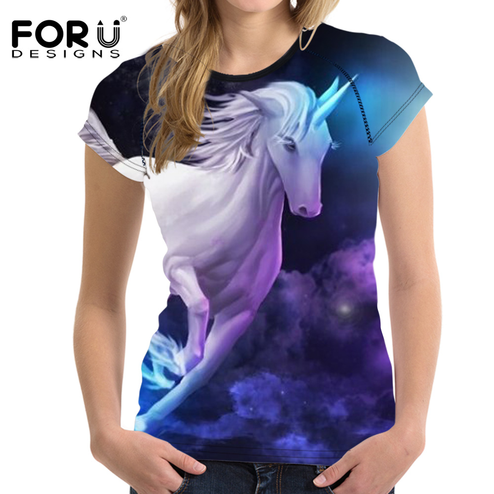 FORUDESIGNS Brand Clothes Women Summer T-shirt Fashion 3D Horse Galaxy Woman Tee Tops Short Sleeved Girl Bodybuilding T Shirt