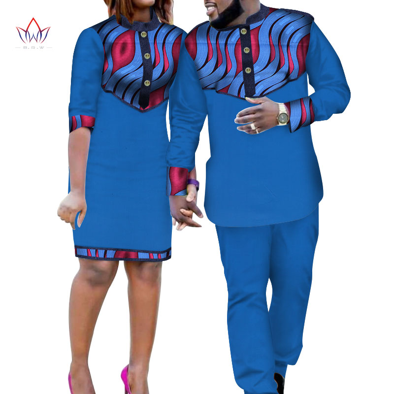 2019 vêtements africains pour Couple coton matériel dashiki africain bazin riche femmes robe et hommes pantalon ensemble 2 pièces wyq222