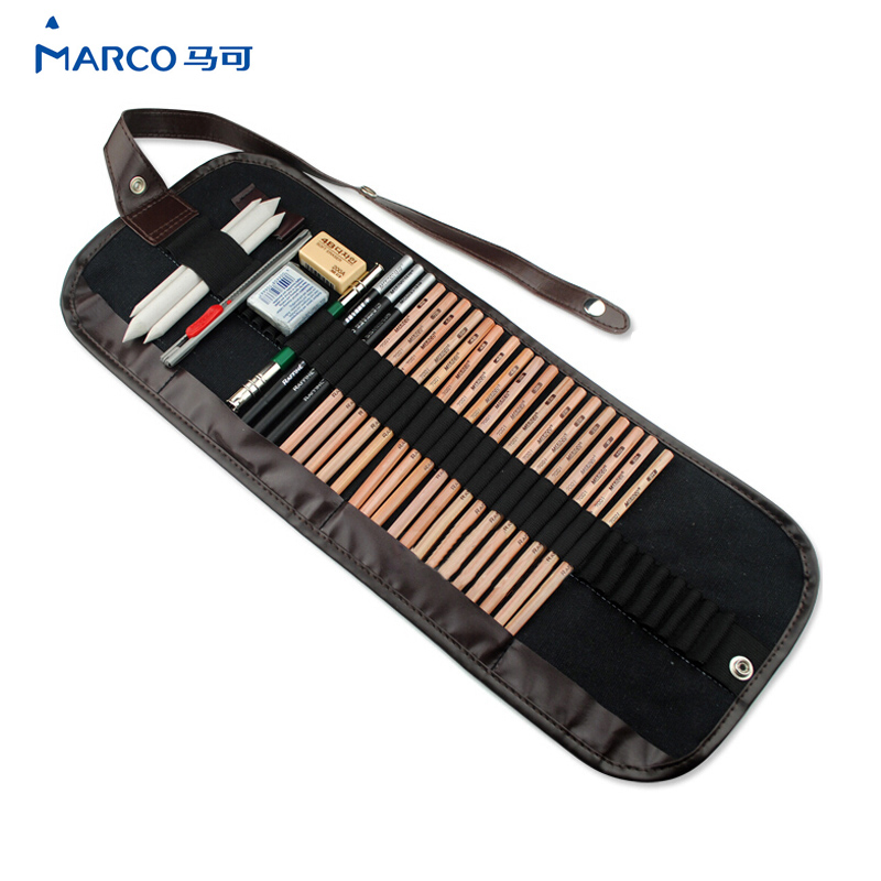29Pcs Pencil Sketch Pencil Set Pencils Charcoal Earser Utility Knife Drawing Standard Pencil With Canvas Bag