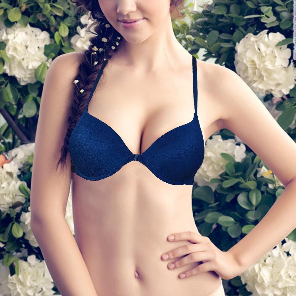 59bd328510 Women Bra Front Closure Lace Bralette Lace Back Ladies Push Up Bra Plunge  Underwire Underwear White Black Orange Nude Blue