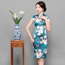 Новые летние Для женщин короткие Qipao тонкий китайский традиционный элегантное платье с цветочным принтом воротник-стойка Cheongsam Плюс