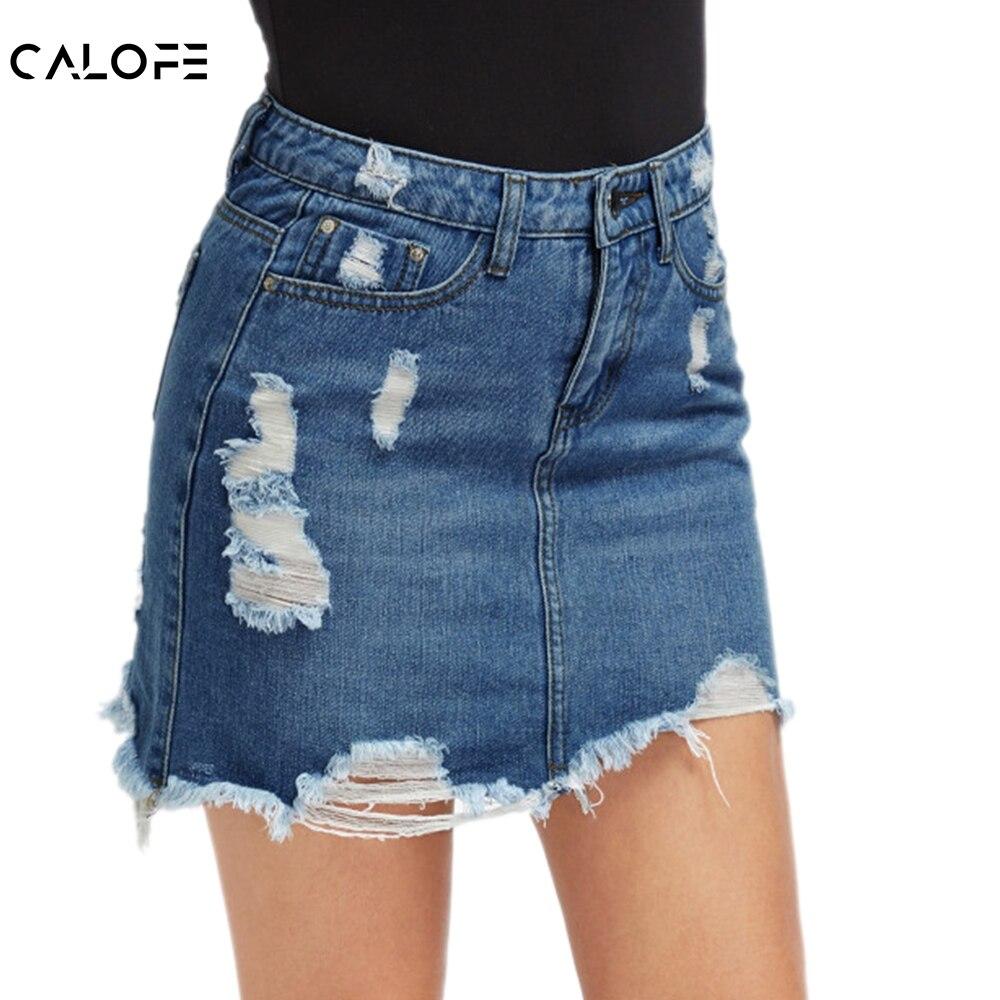 CALOFE femmes bleu déchiré décontracté Mini jupe en Denim 2019 été nouveau moulante femmes jupe de base poche Jeans jupe taille moyenne jupe