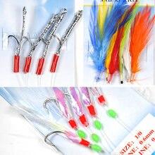 Sabiki – plumes, Tube de guirlandes, plate-forme Flash, taille 1/0, assortiment d'appâts pour la pêche, vente en gros et au détail, 10 sacs
