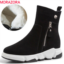 MORAZORA 2020 new arrival winter shoes suede leather ankle boots for women round toe top quality warm wool snow boots female