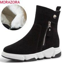 MORAZORA 2020 yeni varış kış ayakkabı süet deri yarım çizmeler kadınlar için yuvarlak ayak en kaliteli sıcak yün kar botları kadın