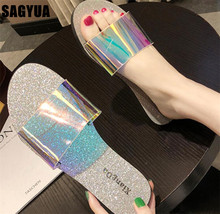 New fashion outdoor women flat slipper summer women Transparent bling casual shoes Beach ladies Open toe Leisure sandals A874