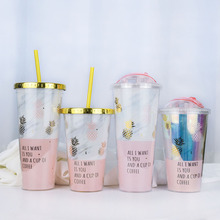 Gold Plating Pineapple Mugs Plastic Double Layer Water Bottle With Straw Pink Travel Portable Juice Coffee Milk Cup Drinkware стоимость