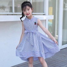 2019 Fashion Summer Sleeveless Girl Cotton Casual Cookies Dress Korean Style Striped Princess Dresses for Girl Children Clothing