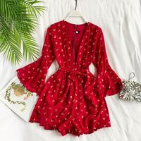 Women Hot Cherry Print Sexy Deep V Neck Long Flare Sleeve Wide legged Playsuits Seaside Jumpsuit Summer Overalls G995