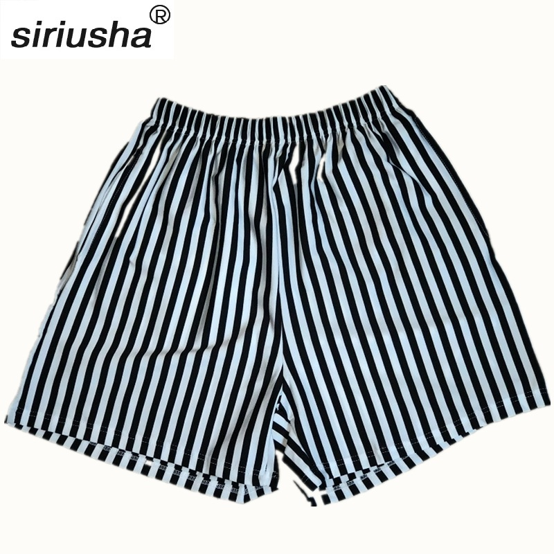 Shorts   zebra striped summer thin slim girls S-4XL casual   short   black and white vertical stripes Beach casual trousers S124