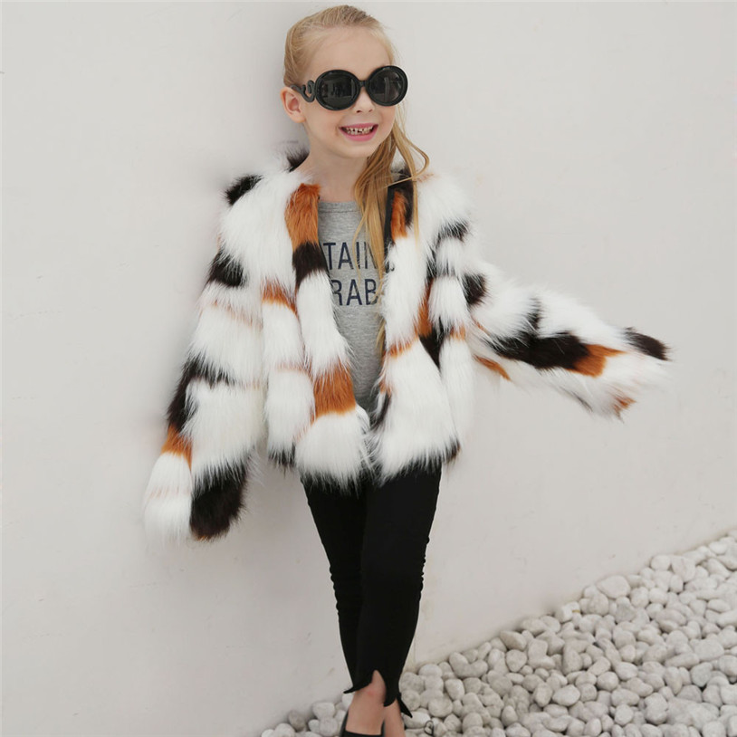 2018 Baby Autumn Winter Vest Waistcoat Children's Fur Vest Boys Girls Imitation Fur Coat Kids Faux Fur Fabric Clothes #T02 curved faux fur vest