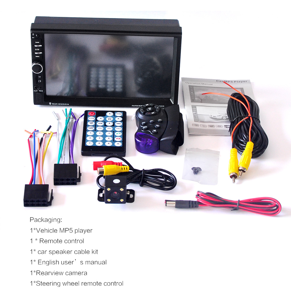 7060b 7 дюймов bluetooth tft экран автомобиля аудио стерео mp4 плеер 12 в авто 2-din действия fm, aux, usb, sd/mmc действия jpeg, wma, mp5