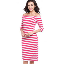 Striped Fashion Slash Neck Casual Summer Collar Strip Sexy Off The Shoulder Hip Party Dress Ukraine Cheap Clothes China