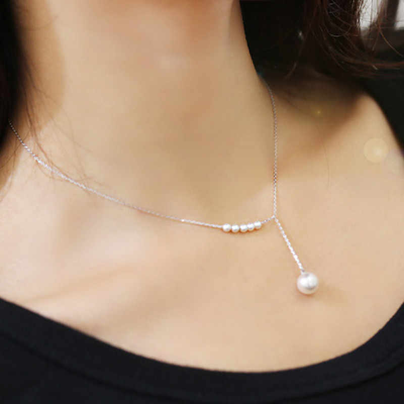 New Korean Version Of The Big Fashion Titanium Steel Clavicle Necklace Female Imitation Pearl Necklace Jewelry Wholesale