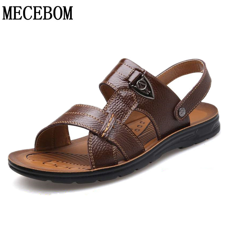 Summer Men's Shoes plus size 50 quality split leather men sandals comfortable men slip-on slippers zapatillas 2219m