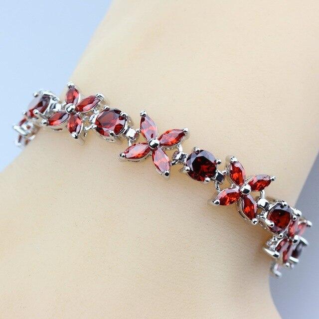 7e642615b951 Increíble 925 de plata Color Link cadena pulsera flor roja granate mujeres  joyería de la boda