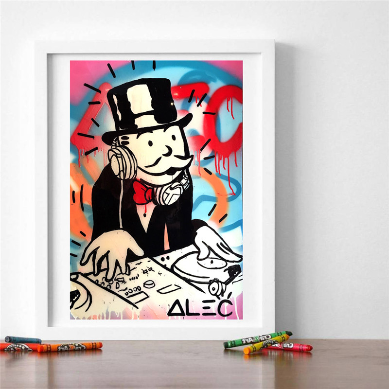 Alec Monopolyingly Man Graffiti Wall Art Poster And Print Canvas Painting Decorative HD Picture For Office Bedroom Home Decor in Painting Calligraphy from Home Garden