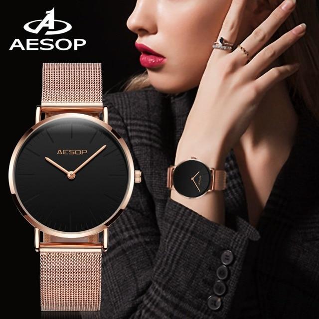 AESOP Top Brand Luxury Fashion Women Watches Ladies Rose gold steel bracelet Qua
