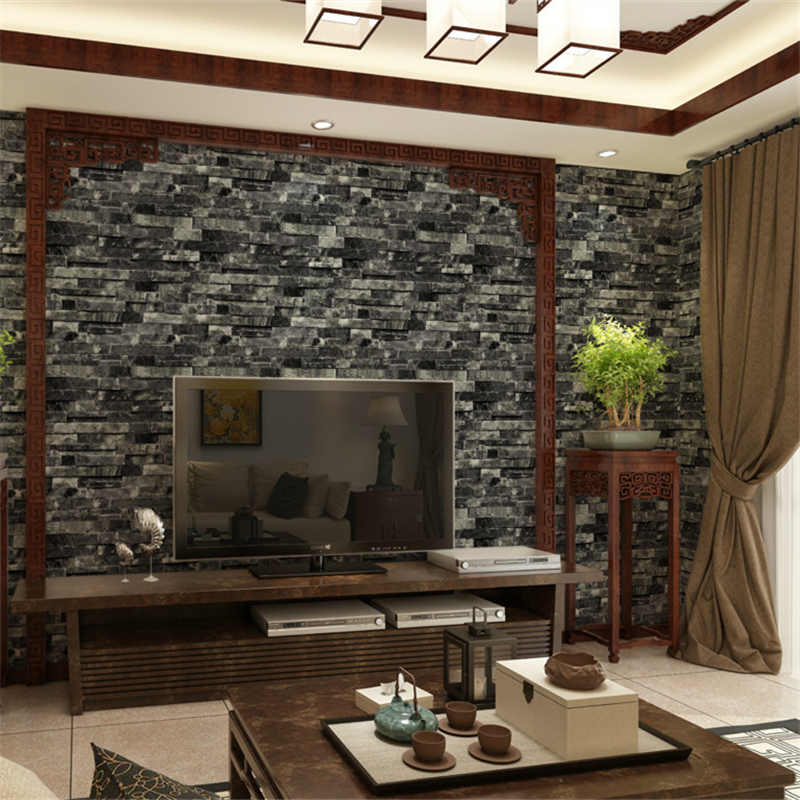Beibehang Chinese Style Three Dimensional Retro Brick Wall Wallpaper Living Room TV Background Effect Map In Wallpapers From Home
