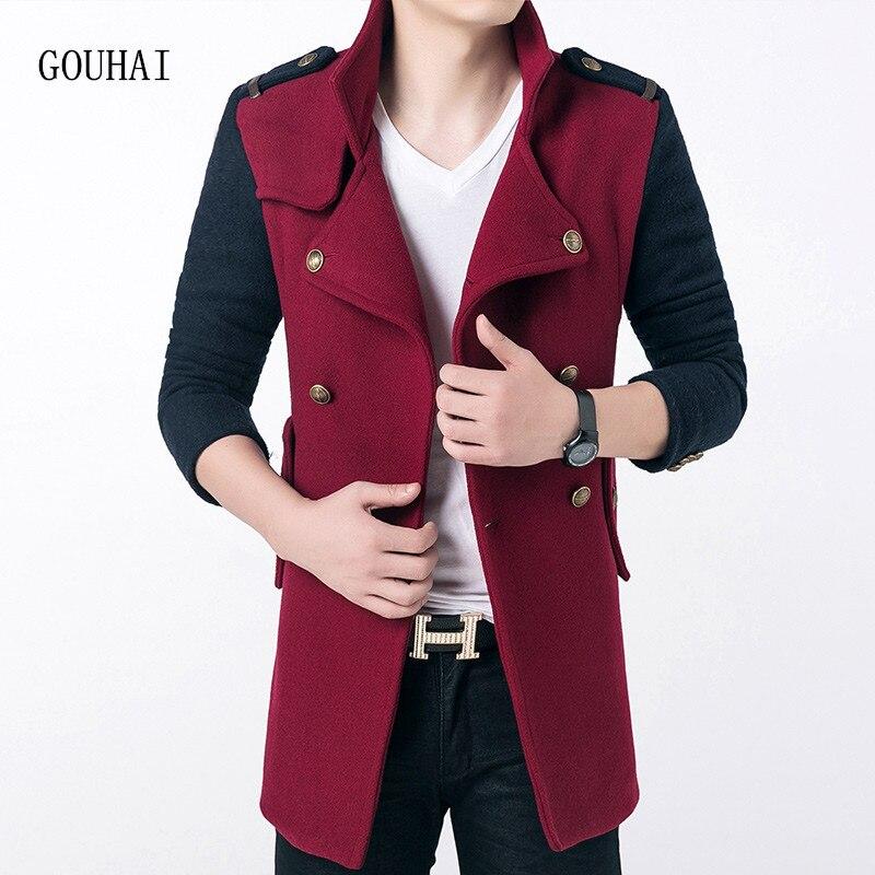 2017 Men Wool Coat Double Breasted Winter Windbreaker Men Long Wool Coat Patchwork Casaco Jaqueta Masculina Men Wool & Blends
