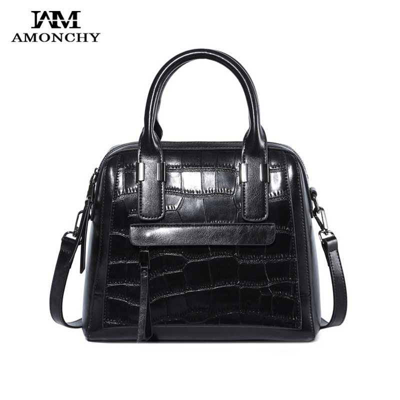 AMONCHY New Alligator Women Bags Ladies Genuine Leather Handbags Brand Shoulder Bag Casual Shopping Messenger Bags Smiley Tote amonchy genuine leather men shoulder bags handbags crocodile male bags natural leather man messenger bag alligator totes sac m50
