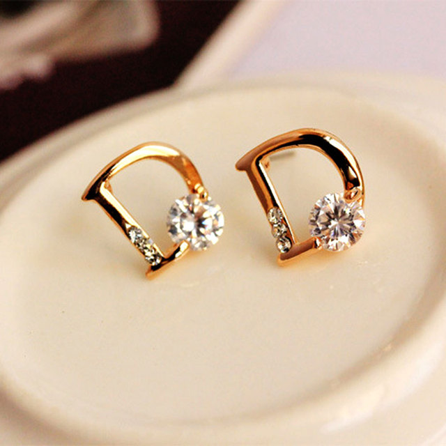 100 Pair Fashion New Gold Earring Jewelry Cubic Zircon D Design Stud Earrings For Women S