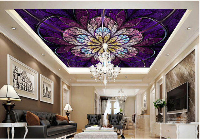 Personnalisé papier peint au plafond rêve fleur motif pour les