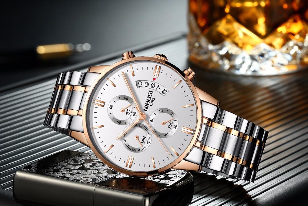Relojes de hombre NIBOSI Relogio Masculino, relojes de pulsera de cuarzo de estilo informal de marca famosa de lujo para hombre, relojes de pulsera Saat 21