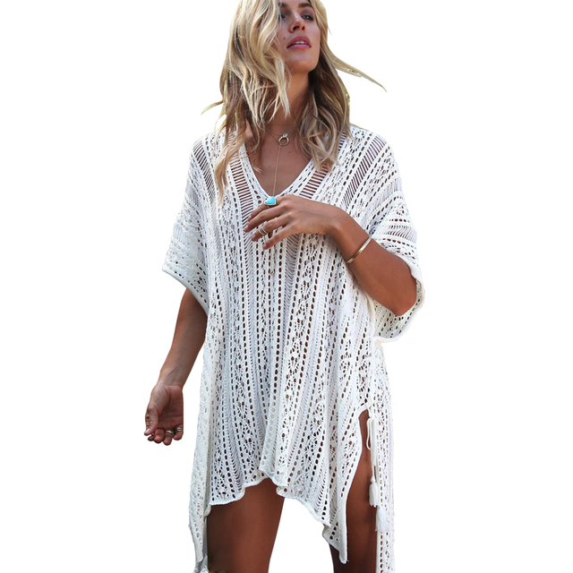 Beach Swimsuit For Women Sleeve Coverups Bikini Cover Up Net Mesh Summer Swimming Dress Femme Crochet Pareos Outlet Beachwear