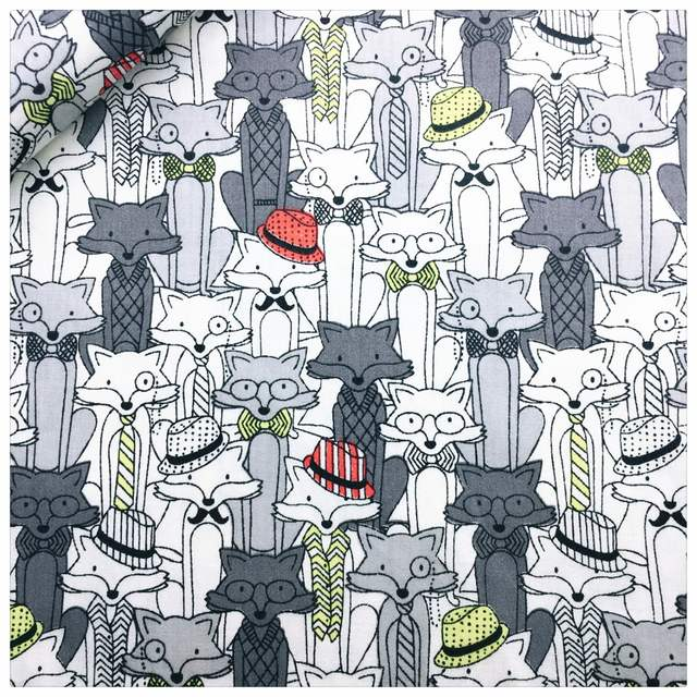 New Cotton Fabric Patchwork Cartoon Tissue Cloth Of Handmade DIY Quilting  Sewing Baby&Children Sheets Dress Gray Cartoon Fox