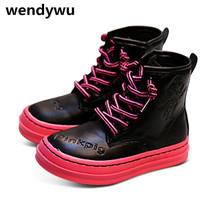 WENDYWU new autumn winter baby girls genuine leather shoes for children fashion mid calf boots boys black boots kids brand boots