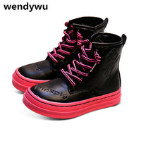WENDYWU New Autumn Winter Baby Girls Genuine Leather Shoes For Children Fashion Mid Calf Boots Boys