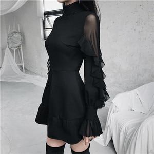 Image 4 - Ruibbit Mini robe gothique pour femme, Punk, tenue tendance, haute qualité, à manches longues, sexy, noir, printemps automne nouveauté