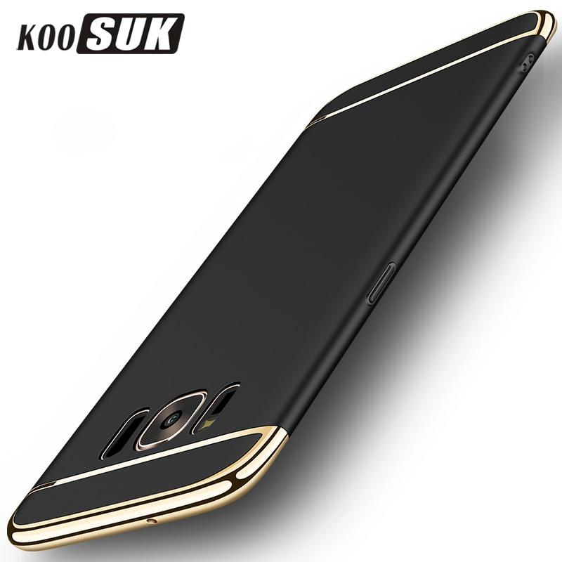 KOOSUK pouzdro na telefon pro Samsung S8 Zadní kryt 3 v 1 Pozlacený rámeček Ochranné pouzdro pro Samsung Galaxy S8 Plus Hard Shell Coque