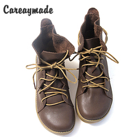 New 2015 European US Style Vintage Martin Sen Female Boots Half Ankle Short Genuine Leather Boots
