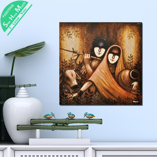 Piece Krishna Abstract Paintings Hd Printed Canvas Wall Art Posters And Prints Poster Painting Framed